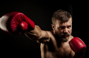 Bearded man and boxing